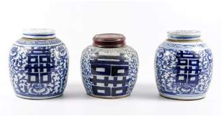 Group of 3 Chinese Double Happiness Ginger Jars