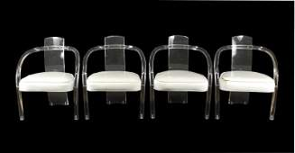 Set of 4 Mid Century Modern Lucite Dining Chairs