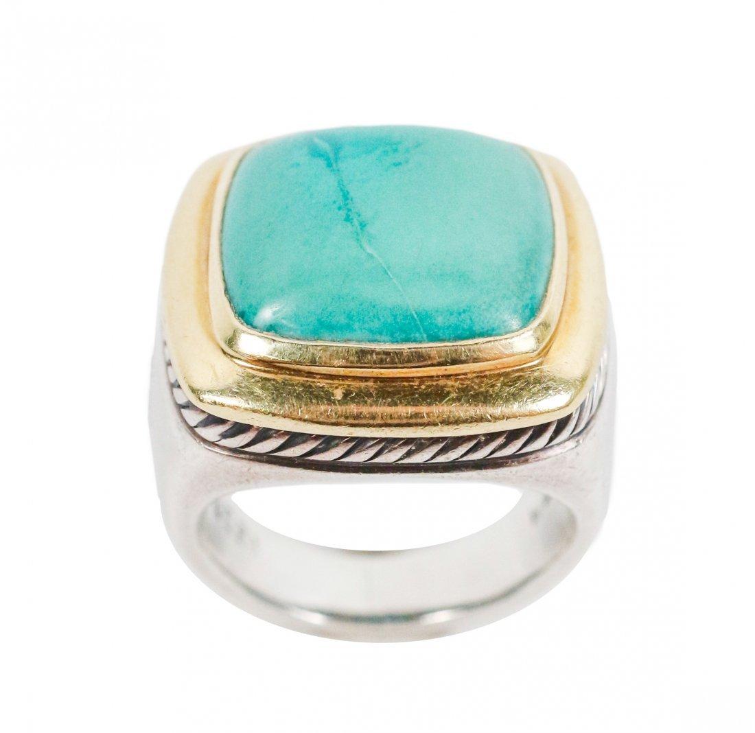 David Yurman 18k Gold, Sterling & Turquoise Ring