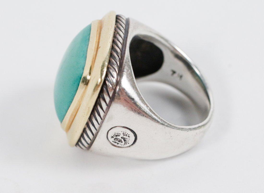 David Yurman 18k Gold, Sterling & Turquoise Ring - 3