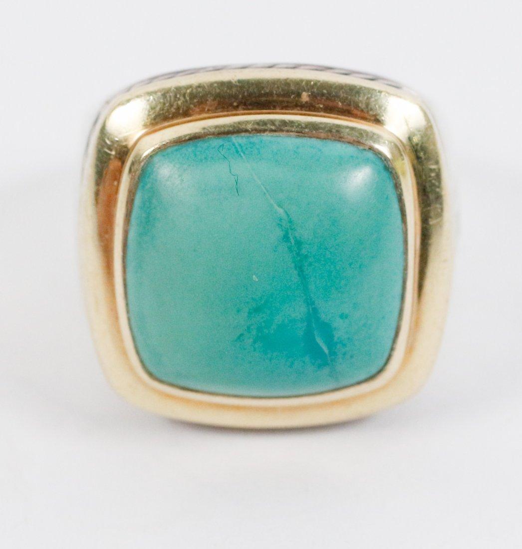 David Yurman 18k Gold, Sterling & Turquoise Ring - 4