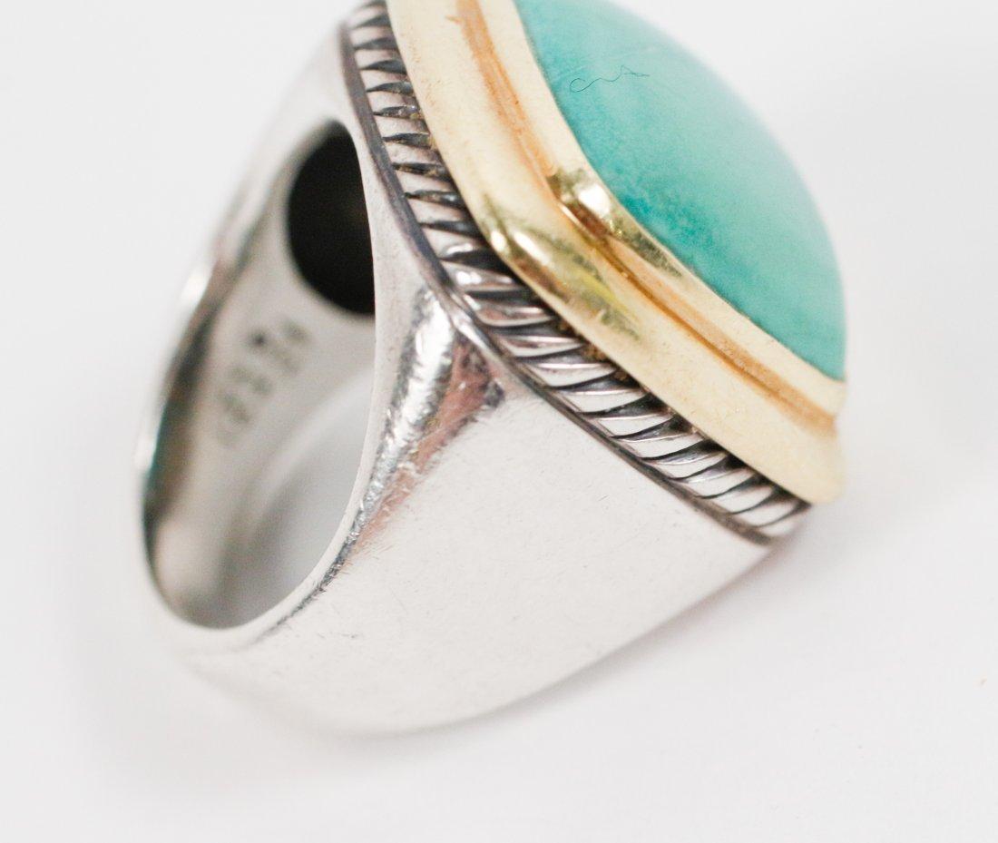 David Yurman 18k Gold, Sterling & Turquoise Ring - 5