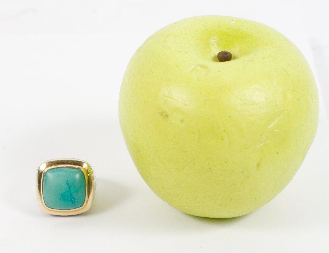 David Yurman 18k Gold, Sterling & Turquoise Ring - 6