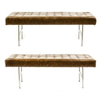 Pair of Chrome & Brown Leather 'Barcelona' Benches