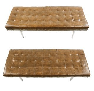 Pair of Chrome & Brown Leather 'Barcelona' Benches - 2