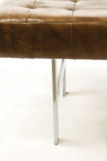Pair of Chrome & Brown Leather 'Barcelona' Benches - 3