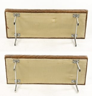 Pair of Chrome & Brown Leather 'Barcelona' Benches - 4