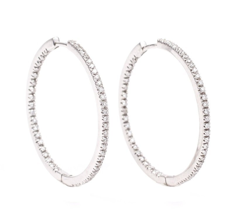 "Italian ""Inside Out"" Diamond Huggie Earrings"