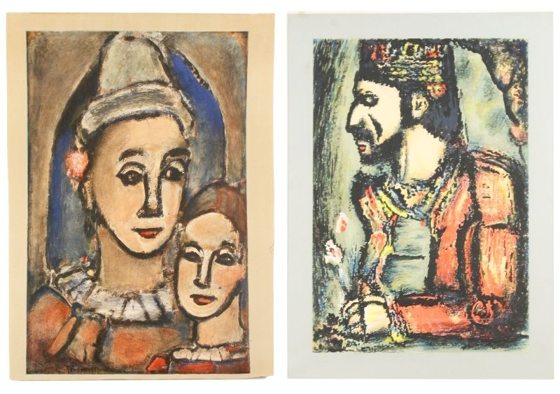 2 Georges Rouault Aquatints, Two Clowns & Old King