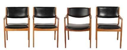 Assembled Set of 4 Mid Century Walnut Armchairs