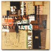 1966 Signed Collage Painting, Letters & Numbers
