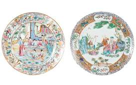 Group of 2 18th Century Famille Rose Dinner Plates