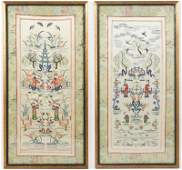 Pair of Chinese Silk Hand Embroidered Panels