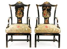 Pair of Black Lacquered Chinoiserie Armchairs
