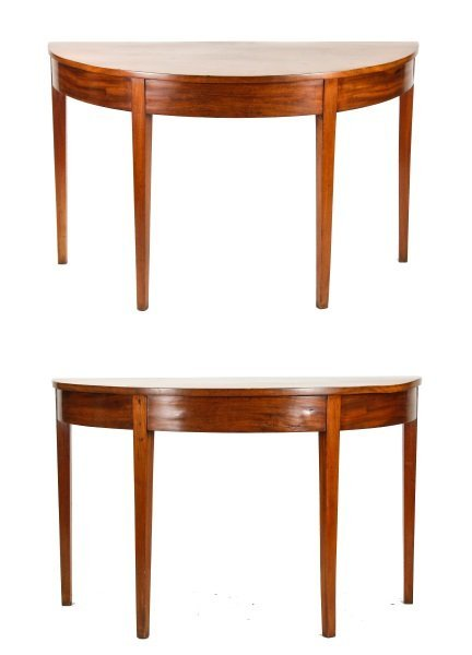 Pair of George III Style Demilune Console Tables