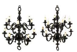 Pair of Dutch Baroque Style 12 Light Chandeliers