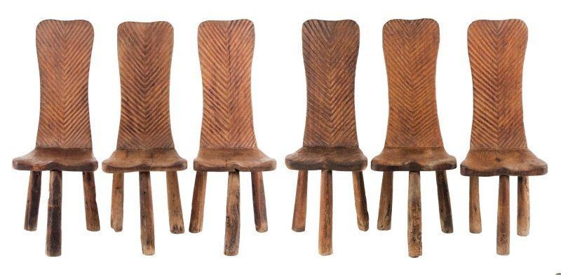 Set of 6 Chip-Carved Quebracho Wood Chairs