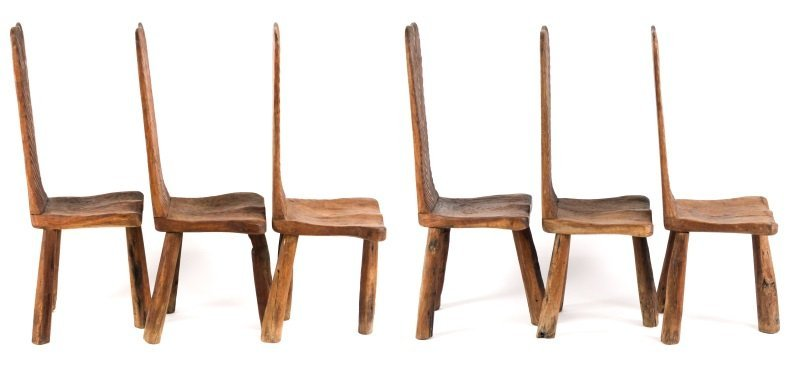Set of 6 Chip-Carved Quebracho Wood Chairs - 2