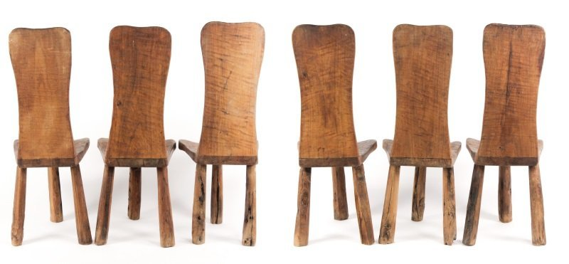 Set of 6 Chip-Carved Quebracho Wood Chairs - 3