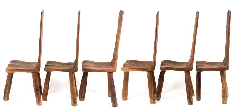 Set of 6 Chip-Carved Quebracho Wood Chairs - 4
