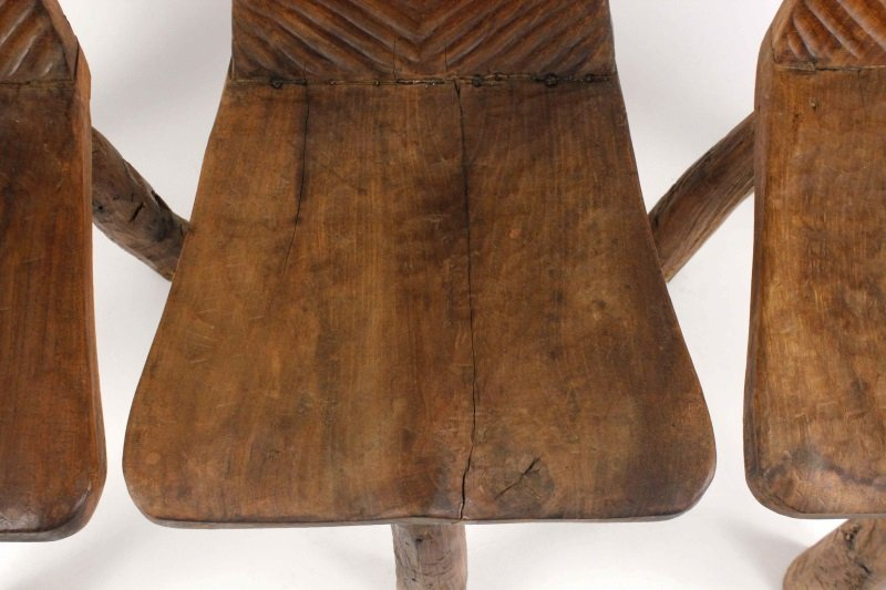 Set of 6 Chip-Carved Quebracho Wood Chairs - 6