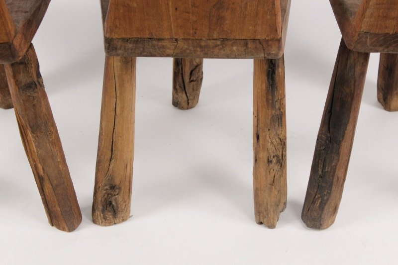 Set of 6 Chip-Carved Quebracho Wood Chairs - 9