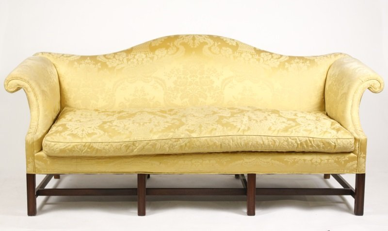 chippendale style mahogany camelback sofa rh liveauctioneers com chippendale style camelback sofa
