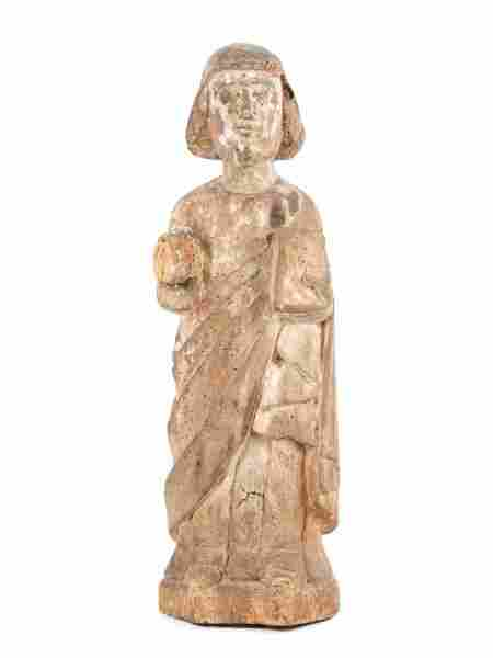18th C. Spanish Colonial Carved Wood Santo Figure