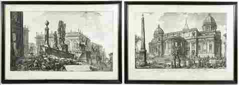 Two Etchings from Piranesis Vedute di Roma