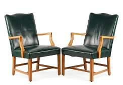 Pair of Upholstered WH Gunlocke Maple Armchairs
