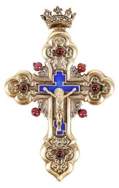 Faberge Gilt Silver Diamond Ruby Amp Enamel Cross