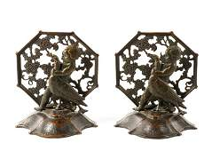 Pair of Bronze Oscar B Bach Figural Bookends