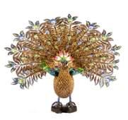 Chinese Export Silver Filigree & Enamel Peacock
