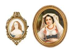 Group of Two Miniature Portraits of Young Women