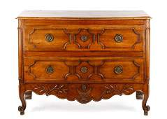 19th C. French Walnut Two Drawer Commode