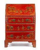 Small Red Lacquered Chinoiserie Secretary, 19th C.