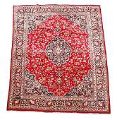 Signed Hand Woven Persian Kashan Room Size Rug