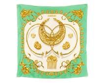 """Hermes """"Cavalier d' Or"""" Silk Scarf in Original Box"""