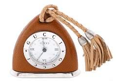Vintage Gucci Brown Shag Leather Stirrup Clock