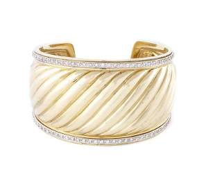 Yurman 18k Yellow Gold Wide Cable Cuff w/Diamonds