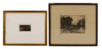 Two Modern Works: 1 Etching, 1 Painting