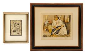 Two Modern Figural Works on Paper, Signed
