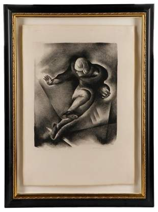 """Benton Spruance """"Ball Carrier"""", Signed Lithograph"""