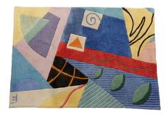 Mid Century Modern Wool Abstract Area Rug Signed