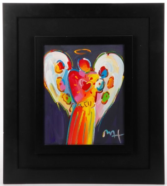 "Peter Max Original Acrylic on Canvas ""Angel"""