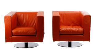 Pair of Mid Century Modern Leather Armchairs