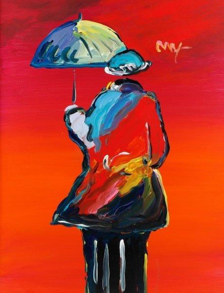 Peter Max Original Acrylic on Canvas, Umbrella Man