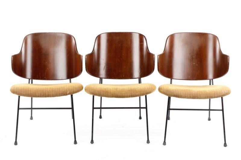 Set of 3 Danish Ib Kofod Larsen Shell Back Chairs