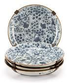 Set of Four Kangxi Style Porcelain Plates