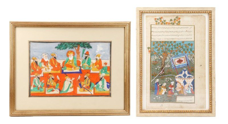 Group of 2 Framed Persian Works on Paper
